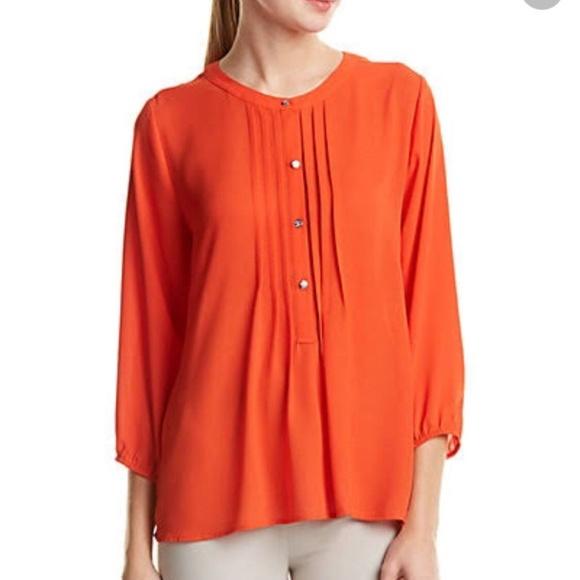 abd7569cb58c8d Dark Orange 3 4 Sleeve Button Up Pintuck Blouse